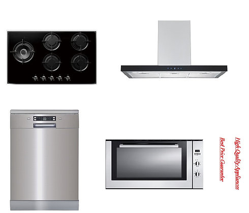 Rangehood + 90cm Oven + 5 Burner Hob + Dishwasher