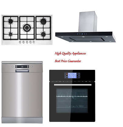 Island Range hood +Built-in Oven + 5 Burner Gas hob + Dishwasher