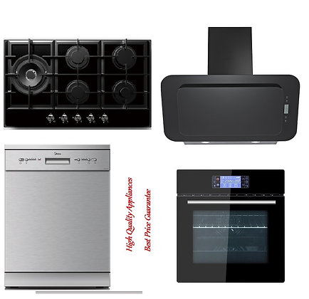 Rangehood + Built-in Oven +5 Burner Gas Hob + Dishwasher