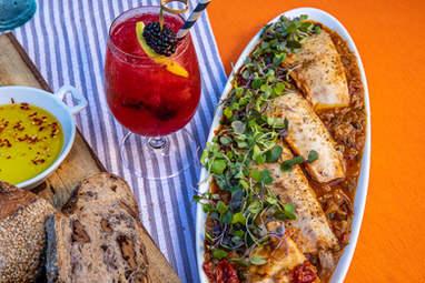 Mediterranean Halibut & our Fresh Blackberry Big O cocktail
