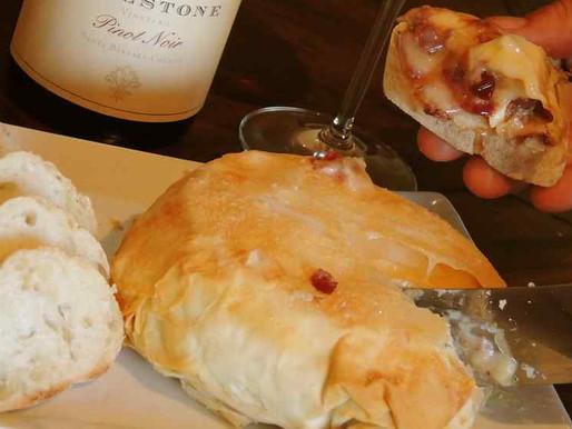 Caramelized Onion, Pinot Noir & Cranberry Filled Brie en Croute