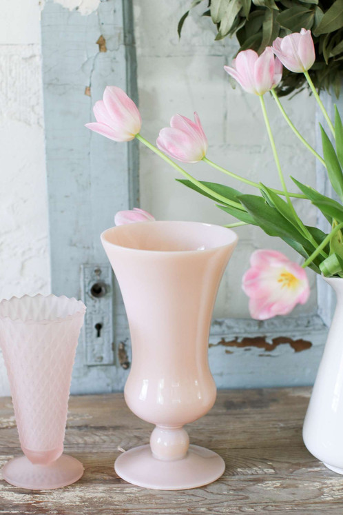 Beautiful Vintage Pale Pink Vase Vintagefarmhome