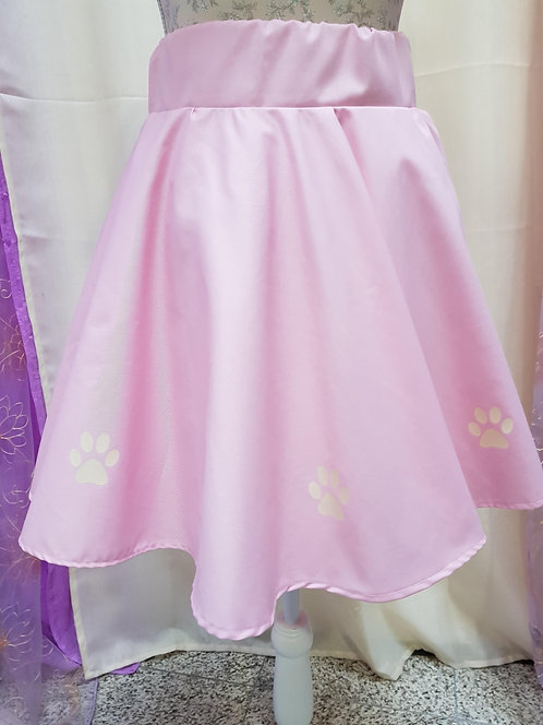 Pink Black Cat Paws Skirt