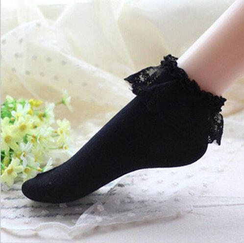 Lolita Black Short Sockets