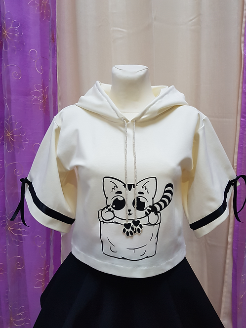 Cat Pocket Short Sleeve Hoodie