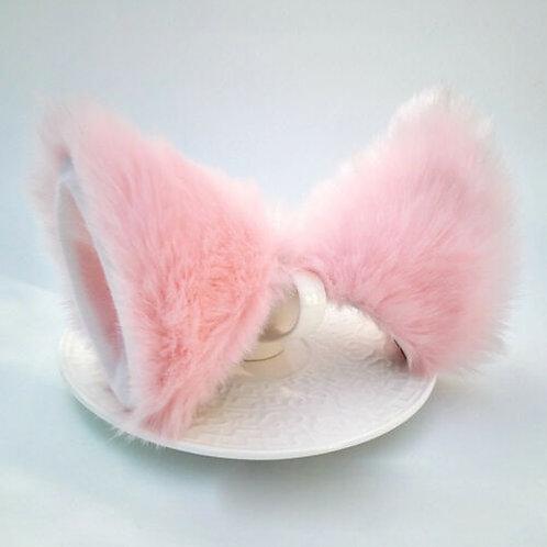 Kawaii Pink Hair Clip Plush Ears With Rattle