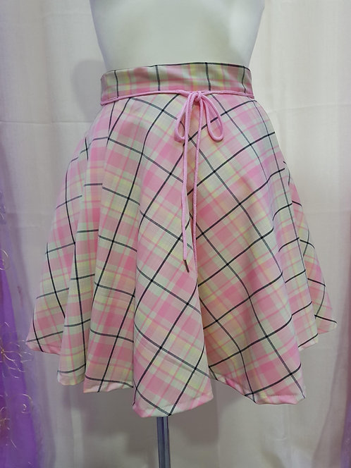 Pink Chess Pattern School Uniform Skirt With Pleats