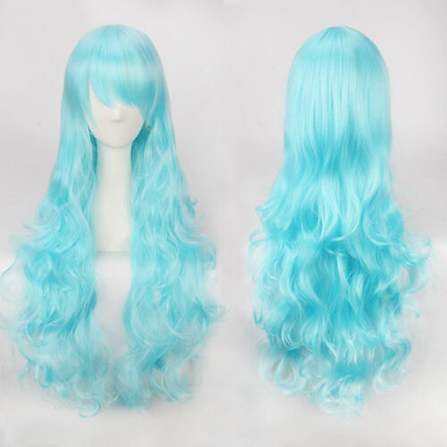 Curly Long Light Blue Wig