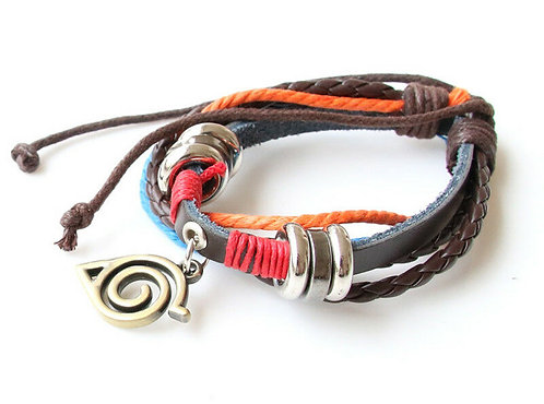 Naruto Konoha Leather Bracelet