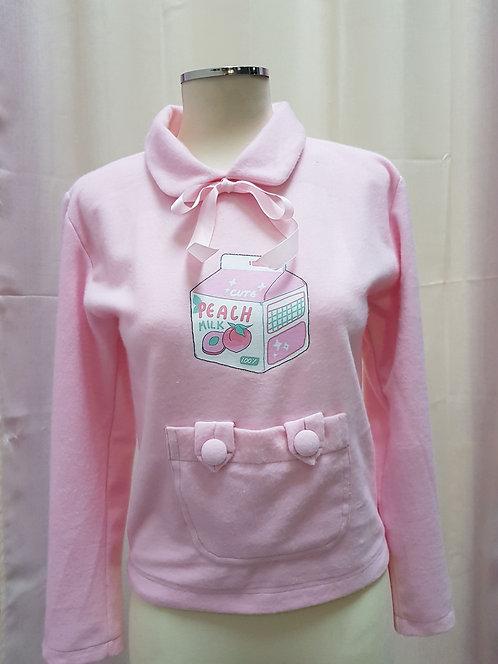 Kawaii Polar Fleece Sweatshirt Milk Peach