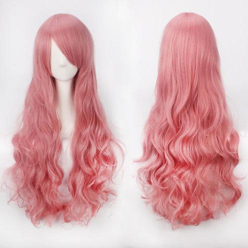 Curly Long Smoke Pink Wig