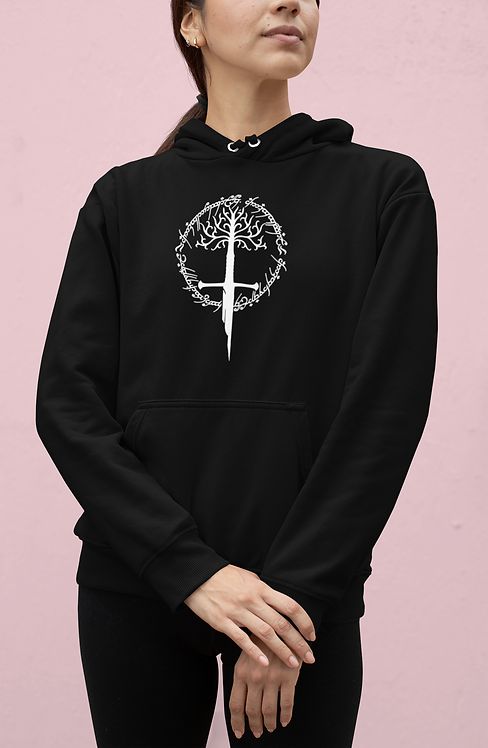 Lord of the Rings Logo - Tree Gondor, Narsil and The One Ring inscription Hoodie