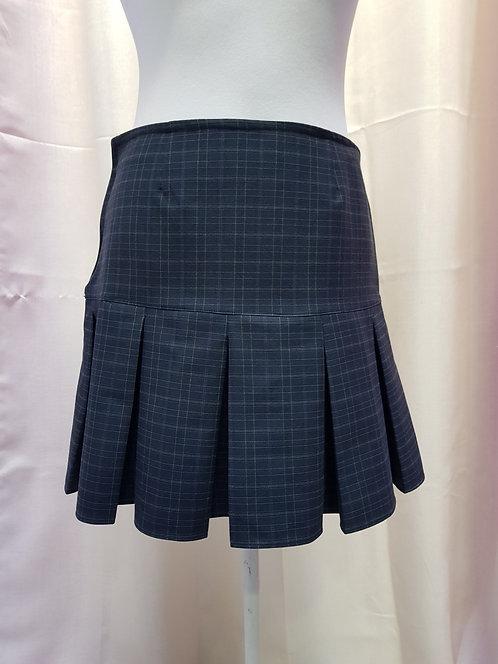 Dark Gray Chess Pattern School Uniform Skirt