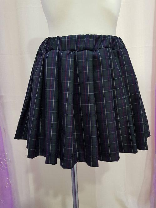 Dark Green Chess Pattern School Uniform Skirt With Pleats