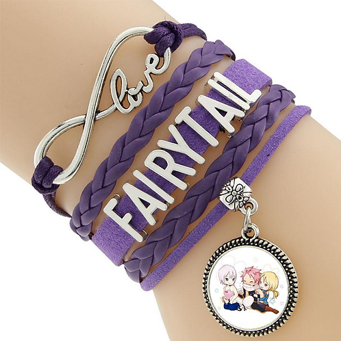 Fairy Tail Lisanna Natsu Lucy Purple Leather Bracelet