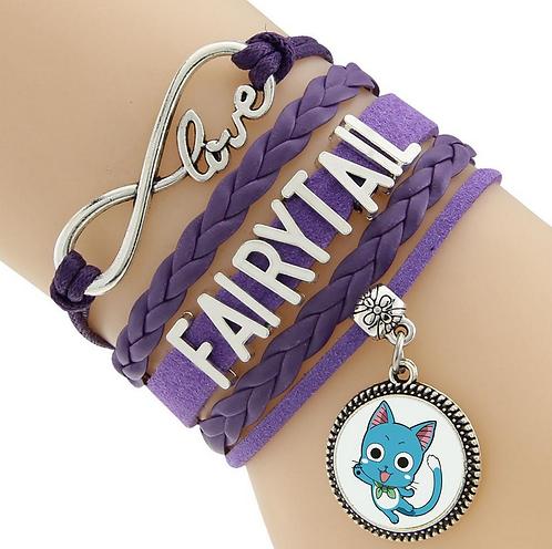 Fairy Tail Happy Purple Leather Bracelet