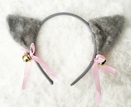 Kawaii Dark Grey Headband Plush Ears