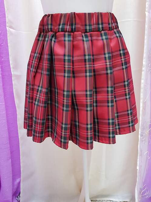 Red Color Chess Pattern School Uniform Skirt