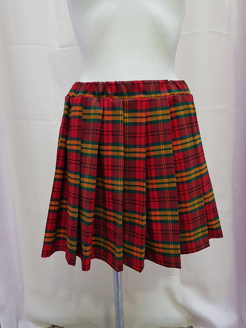 Red Chess Pattern School Uniform Skirt With Pleats