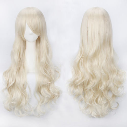 Curly Long Creamy White Wig