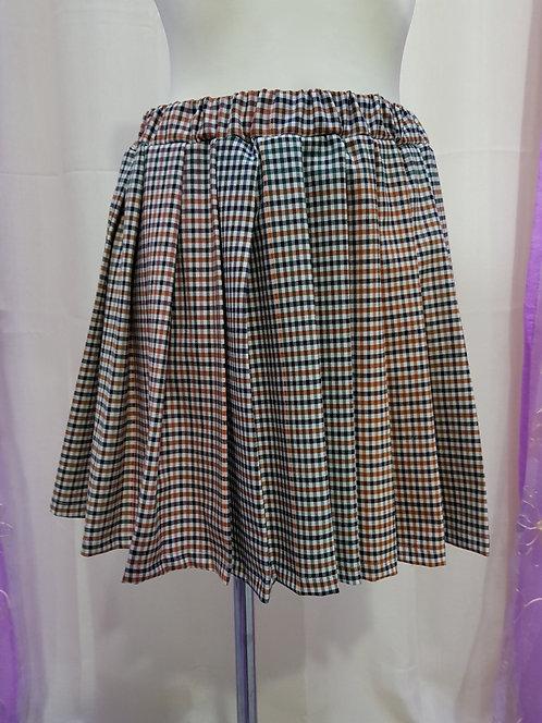 Beige Chess Pattern School Uniform Skirt With Pleats