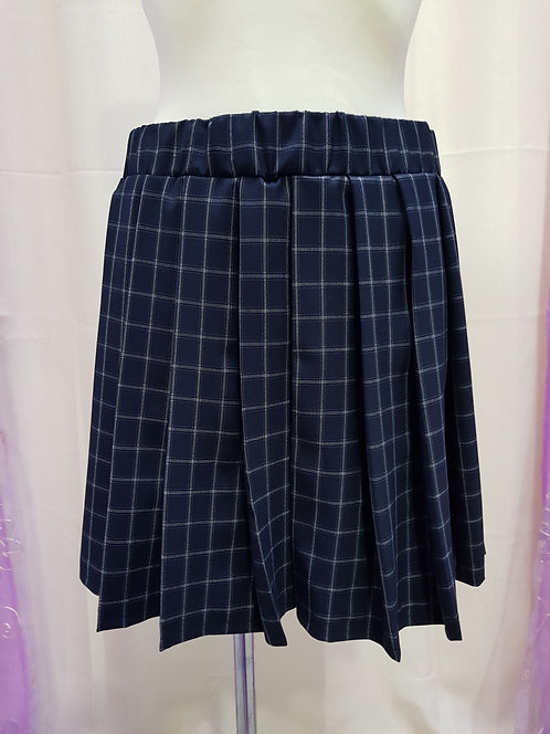 Dark Blue Chess Pattern School Uniform Skirt With Pleats