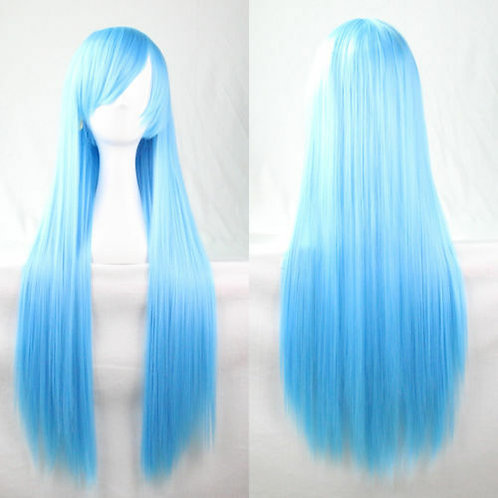 Long With Bangs Light Blue Wig