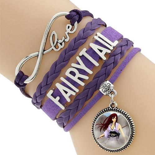 Fairy Tail Erza Purple Leather Bracelet