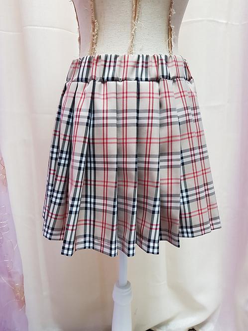Beige Colour Chess Pattern School Uniform Skirt