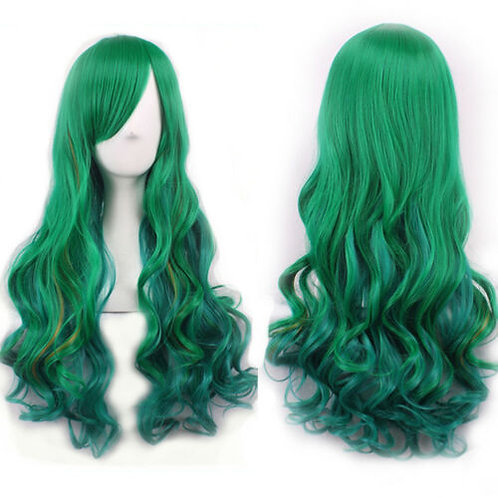 Curly Long Green Gradiant Wig