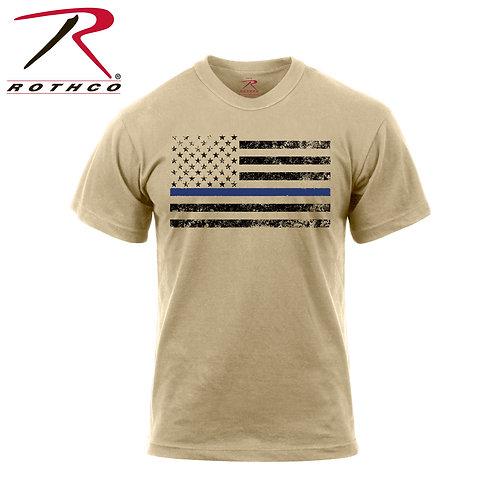 Thin Blue Line T-Shirt - Desert Sand