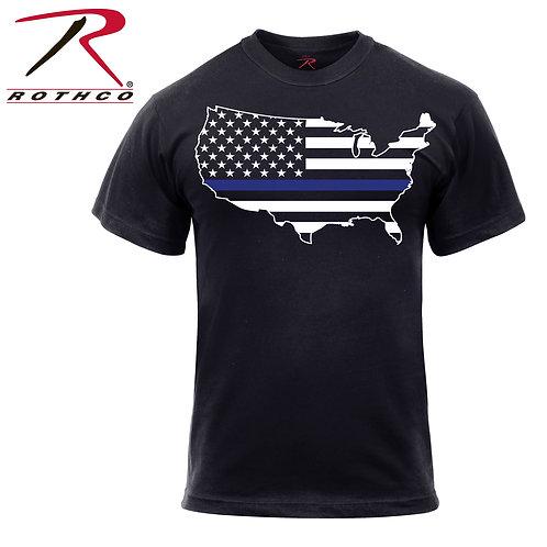 Thin Blue Line America Map T-Shirt