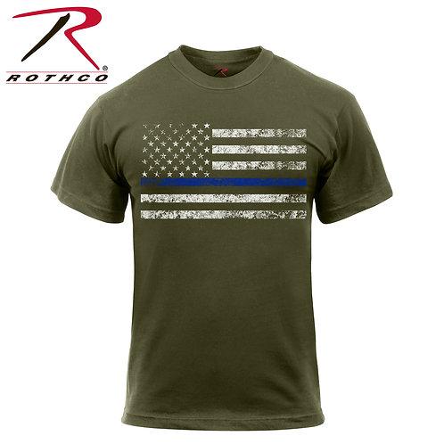 Thin Blue Line T-Shirt - Olive Drab