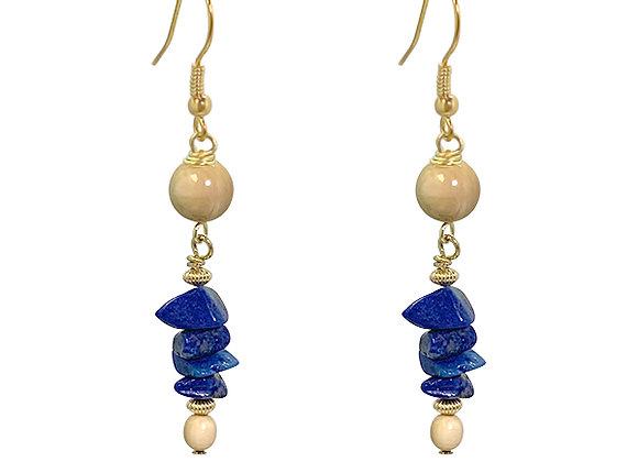 Lapis Lazuli & Mammoth Ivory Earrings