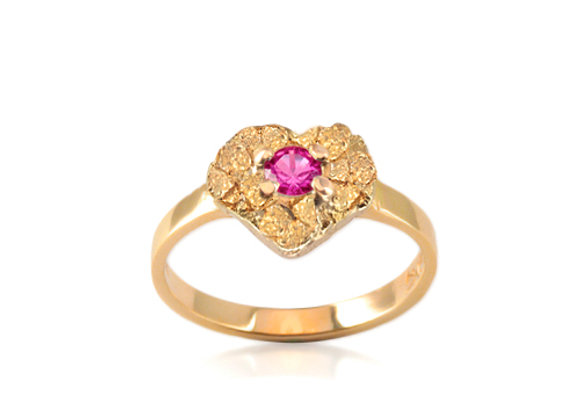 July Heart Birthstone Ring - Ruby