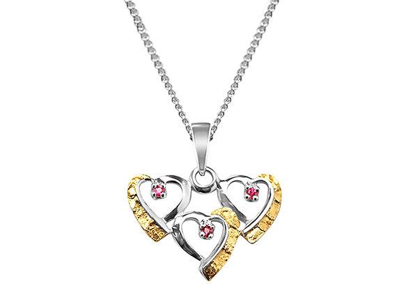 Triple Hearts Nugget Pendant