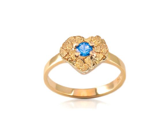 December Heart Birthstone Ring - Blue Topaz