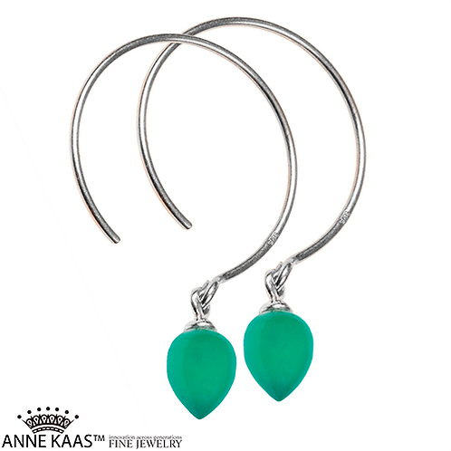 Sterling Silver hoop with an inverted Green Onyx drop