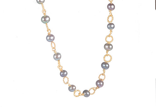 Circle necklace grey freshwater pearl 925 goldplated