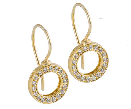 Sparkeling Circle earhook 925 gold plated