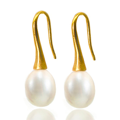 Trompet hook goldplated silver white freshwater pearl