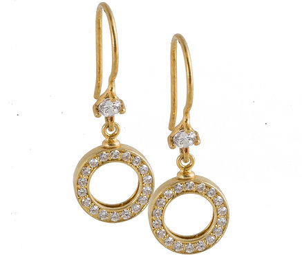 Sparkeling Circle earhook 925/cz gold plated