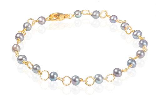 Circle bracelet dark gray freshwater pearl 925 goldpl.