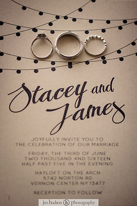Invitations for a wedding at Hayloft on the Arch