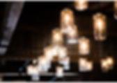 Mason Jar Lighting over the bar at Hayloft on the Arch