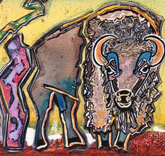 """-by- Gayla Hollis Arbuckle Mountains Buffalo 4 20""""x10""""x1.5"""" Watercolour on Gallery Wrapped Canvas $350 Featuring French Collage Status: Available Current Location: https://www.whisperingwillowsartgallery.com/ Whispering Willows Art Gallery 226 E. Main Norman, Oklahoma 73069 (405) 928-5077 Exhibits: Capitol Complex"""