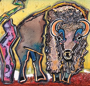 "-by- Gayla Hollis Arbuckle Mountains Buffalo 4 20""x10""x1.5"" Watercolour on Gallery Wrapped Canvas $350 Featuring French Collage Status: Available Current Location: https://www.whisperingwillowsartgallery.com/ Whispering Willows Art Gallery 226 E. Main Norman, Oklahoma 73069 (405) 928-5077 Exhibits: Capitol Complex"