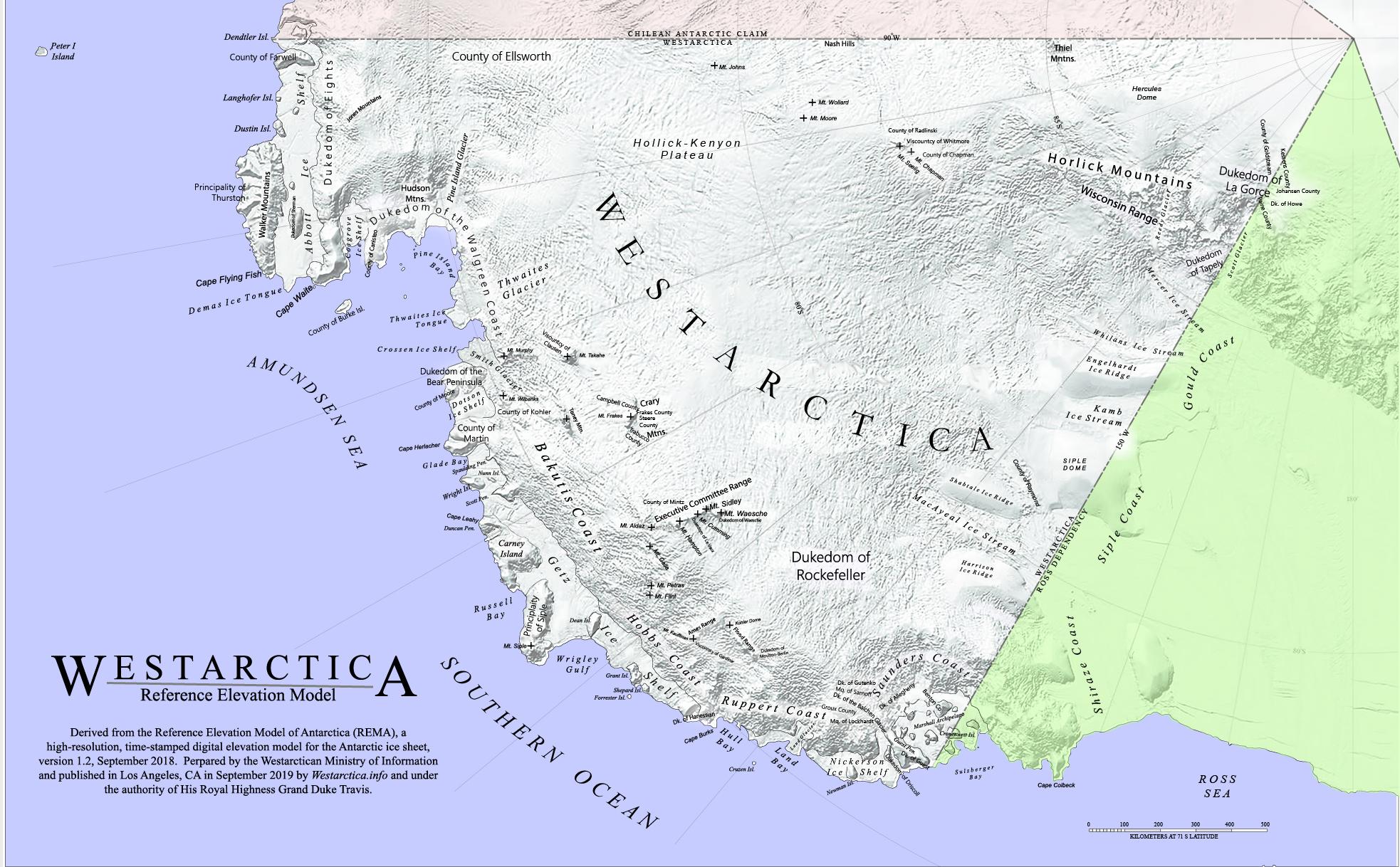 Westarctica's Regions