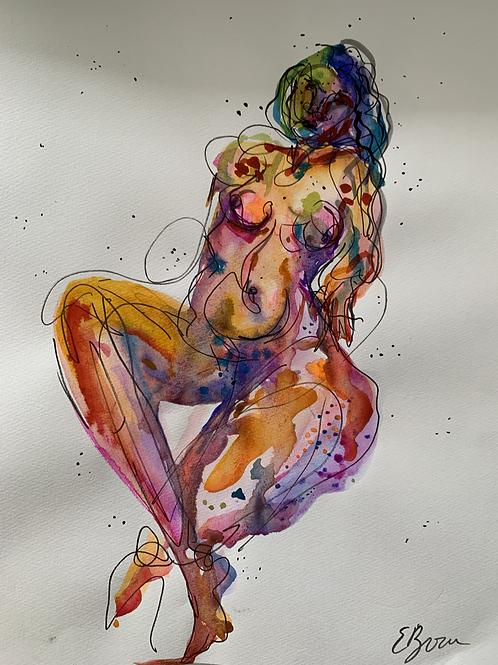 watercolour nude in neon