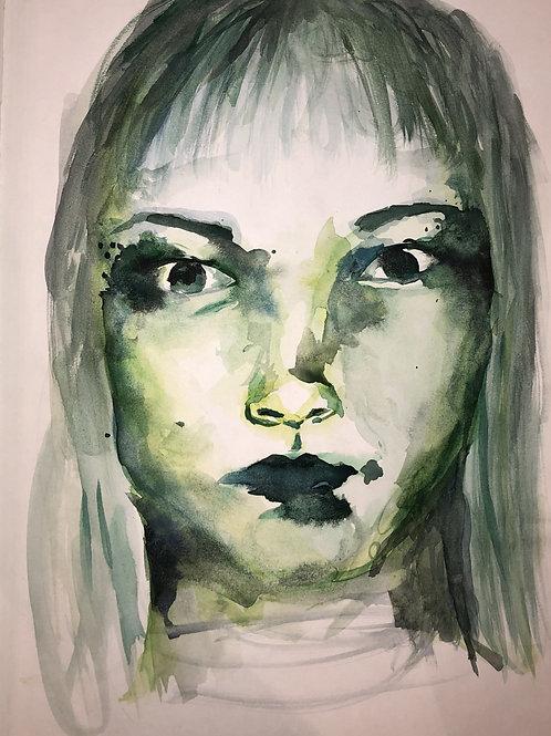 green watercolour